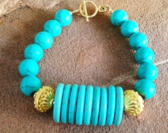 Turquoise Bracelet - Turquoise Jewelry - Gold Jewelry - Gemstone Jewellery - Chunky - Fashion - Unique