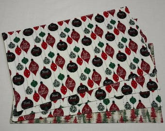 Christmas Placemats, Holiday Placemats, Christmas Table Linens, Holiday Table Decor, Christmas Decor, Reversible Placemats, Xmas Placemats