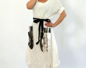 White Linen casual Dress/Linen 100% dress/Woman dress with pocket/Loose dress/Maxi dress/Handmade dress/Day dress/Summer linen dress/D1277