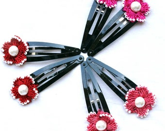 3 Pairs of Hair Clips With Handmade Crochet Motifs Embellished With Half-Pearl