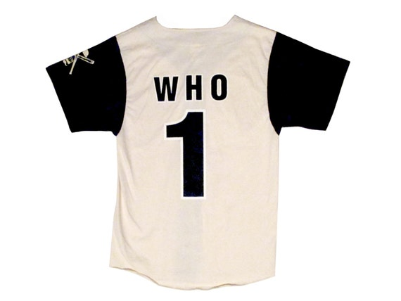 """Vintage Abbott & Costello """"Who's on First?"""" Baseball Jersey Rare Navy Off White Small"""