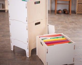 Wooden Hanging File Box