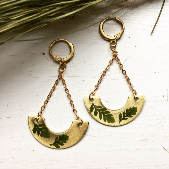Squirrel's foot fern crescent brass earrings