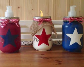 Mason jar bathroom set, Mason jar kitchen set, mason jar decor, Americana decor, mason jar soap dispensers, mason jar set, home decor