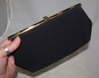 Vintage Black Crepe fabric Clutch Purse with Gold tone and Black Clasp by HL Harry Levine, 60s, USA, accessory, fashion, evening bag