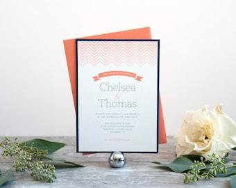 Chevron Wedding Invitation, Deposit to Get Started