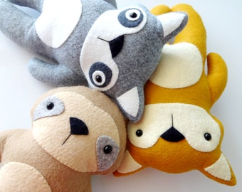 Fox, Raccoon and Sloth Felt Woodland Animal Softies Sewing Pattern - Tutorial - PDF ePATTERN