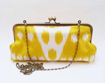 Clutch bag, yellow and cream ikat fabric, ikat design, evening purse
