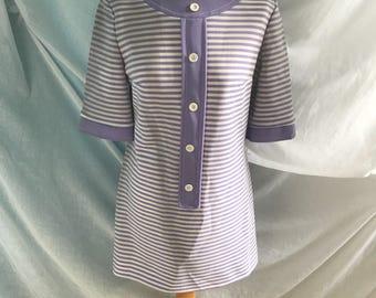 Purple and White 1960s Dress