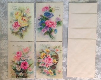 Set of 4 birthday greeting cards unused with envelopes frosted glitter floral pink yellow blue romantic cottage chic ephemera stationary