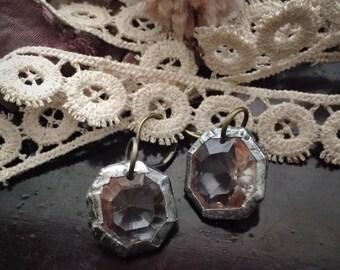 Soldered Vintage Crystals Earrings Boho Vintage Chic Gypsy Hippie