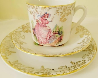 Vintage c 1940s Alfred Meakin Pinkie china trio teacup saucer and plate with gold gilt pink crinoline lady - very good condition - gift idea