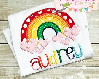 Rainbow Hearts Applique Machine Embroidery Design INSTANT DOWNLOAD