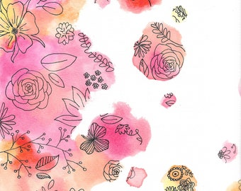 Floral Watercolor and Ink Print