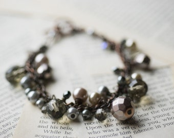 Pearl bracelet - gray crystals and taupe pearls