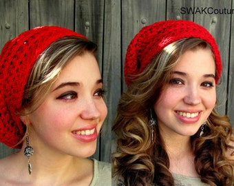 Cotton Slouchy Hat Beanie Cap Textured Beanie Cap Womens Hat Summer Hat Red or CHOOSE Your color