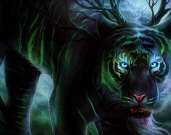 Cold Stare - Signed Art Print - Fantasy Tiger Painting by Jonas Jödicke