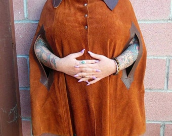 Vintage Leather Cape - Suede Cape - suede Poncho -Leather Poncho - One Size