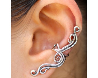 Gift for Woman Silver Ear Cuff Gift for Her Swirl Ear Cuff Swirl Earrings French Twist Ear Cuff Wave Ear Cuff Non-Pierced Earring Swirl Ear