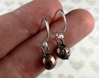 Copper Anchor Earrings | Copper Drop Earrings | Rustic Copper Earrings | Copper Nugget Earrings | Dangle Earrings | Sterling Silver Hooks