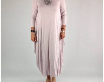 Lagenlook Dress Tunic Stretchy Viscose Quirky Plus Size 14 16 18 20 22 in Light Pink