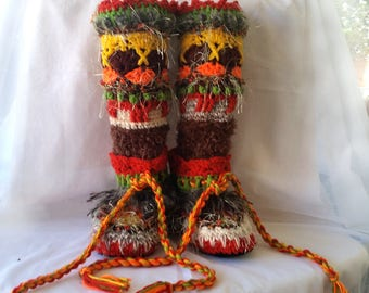 Crochet Slipper Boots Mukluks Knee high and Colorful