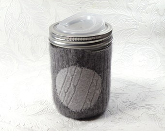 Jar Cozy - pint size - pokadot - grey