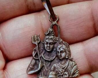 Shiva Parvati Solid Silver Hindu God Shiva, mahadev, Cosmic, Shiv, Rudra, bholeynath Pendant Necklace, kali, yogini, devini feminine, maa