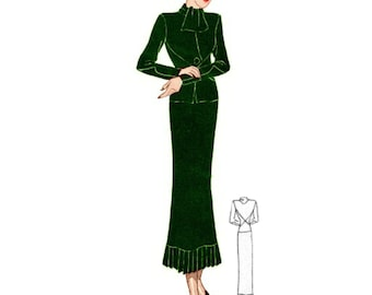Plus Size (or any size) Vintage 1934 Dress Sewing Pattern - PDF - Pattern 1594 Lota 1930s 30s Patterns Instant Download