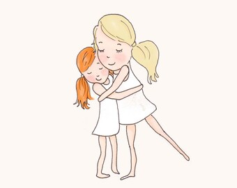 Art for girls room - Sister Wall Art - Digital Art Print - Sisters-  Children's Wall Art -- Print