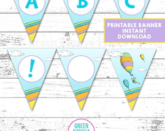 Oh The Places You'll Go Printable Banner, Instant Download, Pennant Banner, All Letters and Numbers, You Print, DIY