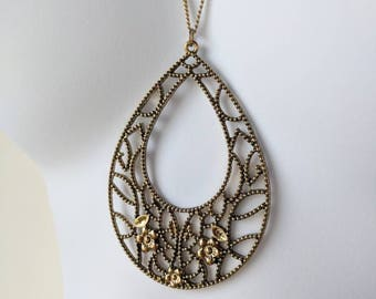 Autumn Floral Teardrop Pendant Necklace on a gold chain