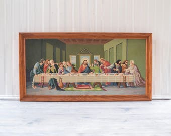 Vintage Paint by Numbers Last Supper Huge Jesus Painting Framed - Large Retro Art