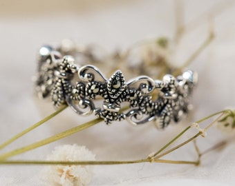 Marcasite Fleur de lis sterling silver ring / Marcasite Ring / Art deco ring / Vintage design /  Fleur de lis Ring
