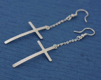 Sterling Silver Cross Earrings, Cross Dangle Earrings, Dangle Earrings with Cross, Long Chain Earring, Long Cross Earrings, Silver Earrings