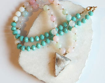 Druzy Moonstone Jade Gemstone Long Beaded Necklace