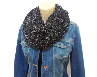Black knitting long scarf weft, knitted scarf, grey, wrap, black accessories, black weft, long scarf