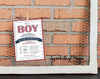 "Sprinkle Shower Invitation - Baby Boy - Baby Sprinkle - Nautical Boy - Whales - Customize - Printable -  Invitation -  5x7"" - Red Navy White"
