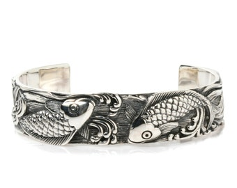 Japanese Koi Fish Tattoo 925 Sterling Silver Bangle Bracelet Gothic Biker Jewelry