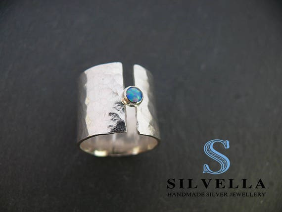 Sterling Silver Chunky Opal Ring - Hammered Band Ring - Handmade in Wales - Gift for Her
