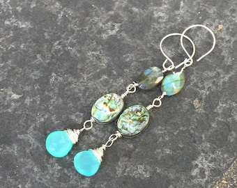Labradorite, Paua Shell and Chalcedony Dangle Earrings  Sundance Style Jewelry  Boho Earrings  Beach