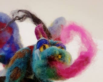 Needle felted Dragon, Wool Sculpture, Collectible Figurine,  Posable Magic Dragon, Dragon play set, Gift for men, Fantasy toys, Baby shower