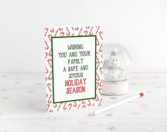 Candy Cane Greeting Card Merry Christmas, Holiday Card Watercolor Christmas Card Holiday Season Candy Cane Card Happy Holidays Greeting Card