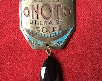 Antique french bike tag with a black pendant