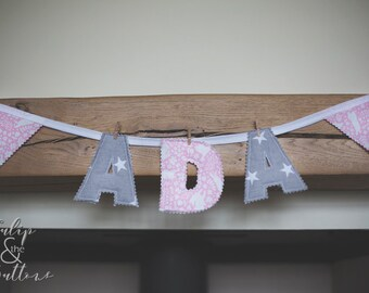 Handmade Fabric Name Bunting various colours/patterns