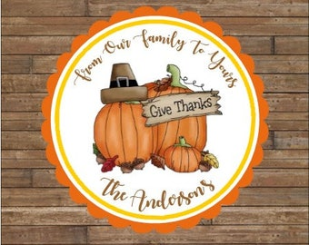 Personalized Thanksgiving Stickers - Happy Thanksgiving Stickers  -  Happy Thanksgiving Tags -  Give Thanks Stickers