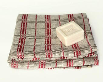 100% Linen Bath Towel | Natural Flax Towels | Classic Bathroom Linens | Heavy Rough Linen Towel | Gray Red Checks | French Linen Bath Sheets