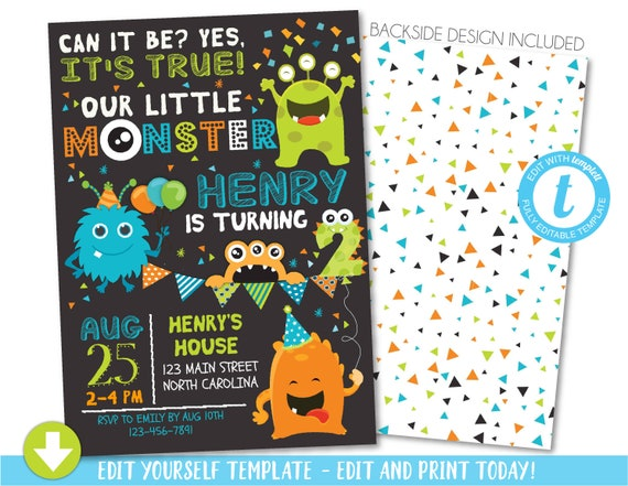 Monster Birthday Invitation, Monster 2nd Birthday Invitation, Monster Party, Little Monster Second Birthday, 1st Birthday First