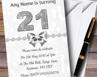 White Bokeh & Silver Glitter Look 21St Personalised Birthday Party Invitations