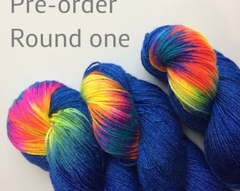 Pre-order Hand dyed sock yarn 4ply finger weight superwash BFL and bamboo 100g. Colour Cosmic Girl,  BFL is a British breed.